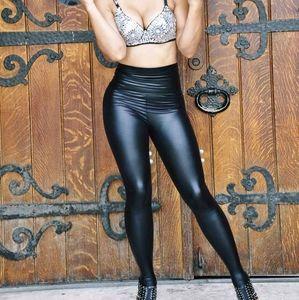 High waist metallic faux leather pants